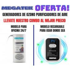 COMBO Generador De Ozono Portatil de Pared + equipo portatil recargable